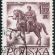 POLAND - CIRCA 1956: A stamp printed in the Poland, the monument depicts Jozef Poniatowski, the sculptor Bertel Thorvaldsen, circa 1956 - ストック写真