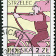 POLAND - CIRCA 1996: A stamp printed in the Poland, shows a sign of the zodiac, Sagittarius, circa 1996 — Stock Photo