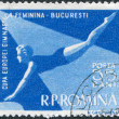 Stock Photo: ROMANI- CIRC1957: stamp printed in Romania, dedicated to Europechampionship in women's gymnastics, Bucharest, depicts womon Pommel horse, circa