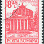 ROMANIA - CIRCA 1972: A stamp printed in the Romania, shows the Romanian Athenaeum, Bucharest, circa 1972 — Stock Photo