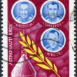 ROMANIA - CIRCA 1972: A stamp printed in the Romania, shows the crew of the spaceship Apollo-1 Ed White, Gus Grissom und Roger Chaffee, circa 1972 - 