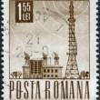 Stock Photo: ROMANI- CIRC1968: stamp printed in Romania, shows Radio station and tower, circ1968