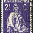 Stok fotoğraf: PORTUGAL - CIRC1912: stamp printed in Portugal, depicts ancient Romgoddess of fertility, Ceres, circ1912