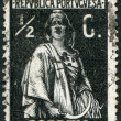 PORTUGAL - CIRCA 1912: A stamp printed in the Portugal, depicts ancient Roman goddess of fertility, Ceres, circa 1912 — Lizenzfreies Foto