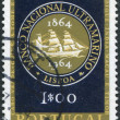 PORTUGAL - CIRCA 1964: A stamp printed in the Portugal, is dedicated to the 100th anniversary of the National Bank's overseas, circa 1964 — Stock Photo