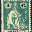 PORTUGAL - CIRCA 1912: A stamp printed in the Portugal, depicts ancient Roman goddess of fertility, Ceres (overprint Mozambique in 1913), circa 1912 — Lizenzfreies Foto