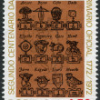 PORTUGAL - CIRCA 1973: A stamp printed in the Portugal, is dedicated to the 200th anniversary of the public school, shows pages of old books, circa 1973 — Stock Photo