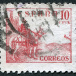 SPAIN - CIRCA 1939: A stamp printed in the Spain, shows a national hero of Spain's El Cid Campeador on a horse, circa 1939 — Stock Photo