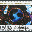 "SPAIN-CIRCA 1990: A stamp printed in the Spain, Christmas: Scenes from the film ""Cosmic Poem"" by Jose Antonio Sistiaga, circa 1990 — Stock Photo"