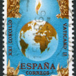 Stock Photo: SPAIN-CIRC1965: stamp printed in Spain, Globe and Four Beasts of Apocalypse VaticII, 21st Ecumenical Council of RomCatholic Church, circ1965