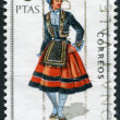 Royalty-Free Stock Photo: SPAIN-CIRCA 1970: A stamp printed in the Spain, shows a traditional Spanish dress, Santander, circa 1970