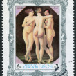 Постер, плакат: STATE OF OMAN CIRCA UNKNOWN: A stamp printed in the State of Oman shows a painted picture of Jean Baptiste Regnault The Three Graces circa Unknown