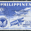 PHILIPPINES - CIRCA 1960: A stamp printed in the Philippines, is dedicated to the 25 th anniversary of the Air Force, circa 1960 — Foto Stock