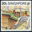 SINGAPORE - CIRCA 1987: Postage stamps printed in Singapore, depicted the cityscape of Singapore, circa 1987 — Stock Photo #12363532