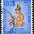 Stock Photo: CEYLON - CIRC1954: stamp printed in Ceylon, shows fresco of Sigiriya, circ1954