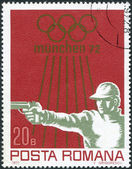 ROMANIA - CIRCA 1972: A stamp printed in the Romania, dedicated to the summer Olympic Games in Munich, 72, shows the Shooting sport, Handgun, circa 1972 — Stock Photo