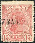 ROMANIA - CIRCA 1893: A stamp printed in the Romania, shows the King of Romania, Carol I, circa 1893 — Stock Photo