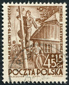 POLAND - CIRCA 1952: A stamp printed in the Poland, dedicated to the 6-year plan, electrification, circa 1952 — Stock Photo