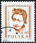 POLAND - CIRCA 1982: A stamp printed in the Poland, shows a woman's head out of the embassy of the hall of the castle Wawel in Krakow, circa 1982 — Stock Photo