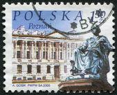 POLAND - CIRCA 2005: A stamp printed in the Poland, shows a Monument of Hygea, Raczynski Library in Poznan, circa 2005 — Stock Photo