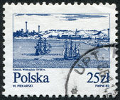 POLAND - CIRCA 1982: A stamp printed in the Poland and depict the ships on the river Vistula near Gdansk (copper engraving, 18th century), circa 1982 — Stock Photo