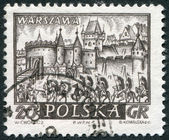 POLAND - CIRCA 1960: A stamp printed in the Poland, shows fortifications (Barbican), Warsaw, circa 1960 — Stock Photo