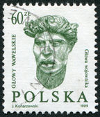 POLAND - CIRCA 1989: A stamp printed in the Poland, shows a male head of the embassy of the hall of the castle Wawel in Krakow, circa 1989 — Stock Photo