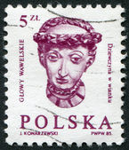POLAND - CIRCA 1985: A stamp printed in the Poland, head girl with braided wreath at the embassy hall of the castle Wawel in Krakow, circa 1985 — Stock Photo