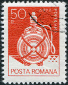 ROMANIA - CIRCA 1982: A stamp printed in the Romania, shows a wooden flask from Suceava, circa 1982 — Stock Photo