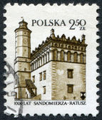 POLAND - CIRCA 1980: A stamp printed in the Poland, dedicated to the 1000th anniversary of Sandomierz, shows the Town Hall, circa 1980 — Stock Photo