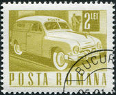 ROMANIA - CIRCA 1968: A stamp printed in the Romania, depicts Mail truck, circa 1968 — Stock Photo