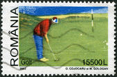ROMANIA - CIRCA 2002: A stamp printed in the Romania, shows the game of golf, circa 2002 — Stock Photo