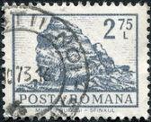 ROMANIA - CIRCA 1972: A stamp printed in the Romania, shows the Sphinx Rock, Bucegi Mountains, circa 1972 — Foto de Stock