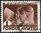 Rumania - circa 1936: un sello impreso en la rumania, muestra la cabeza del piloto y el ala de un águila, circa 1936 — Foto de Stock