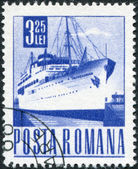 "ROMANIA - CIRCA 1968: A stamp printed in the Romania, shows the passenger ship ""Transylvania"", circa 1968 — Stock Photo"