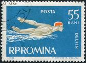 Romanya - yaklaşık 1963: romanya'da basılmış damga bir yüzücü, 1963 dolaylarında kelebek kontur stilini gösterir — Stok fotoğraf