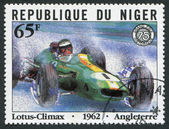 REPUBLIC OF NIGER-CIRCA 1981: Postage stamps printed in the Republic of Niger, dedicated to the 75 th anniversary of the Grand Prix of France — Stock Photo