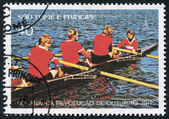 S. TOME E PRINCIPE - CIRCA 1977: A stamp printed in the S. Tome e Principe, dedicated to 60th anniversary of the Russian October Revolution, Rowing, circa 1977 — Stock Photo
