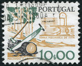 PORTUGAL - CIRCA 1979: A stamp printed in the Portugal, is depicted tool woodcutter, two-handled saw and ax, circa 1979 — Stock Photo