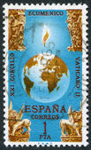 SPAIN-CIRCA 1965: A stamp printed in the Spain, Globe and Four Beasts of Apocalypse Vatican II, the 21st Ecumenical Council of the Roman Catholic Church, circa 1965 — Stock Photo
