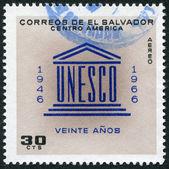 EL SALVADOR - CIRCA 1966: Postage stamps printed in El Salvador, is dedicated to the 20 th anniversary of UNESCO, circa 1966 — Stock Photo