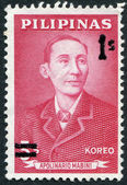 PHILIPPINES - CIRCA 1963: A stamp printed in the Philippines, represented a political philosopher and revolutionist Apolinario Mabini (used overprinted), circa 1963 — Stock Photo