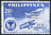 PHILIPPINES - CIRCA 1960: A stamp printed in the Philippines, is dedicated to the 25 th anniversary of the Air Force, circa 1960 — Stock Photo