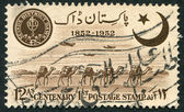 PAKISTAN - CIRCA 1952: A stamp printed in the Pakistan, devoted to 100 anniversary of Indian postage stamp and the 5 th anniversary of the independence of the provin — Stock Photo