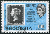 RHODESIA - CIRCA 1966: A stamp printed in the Rhodesia, is dedicated to the 28 th anniversary of the South African Philatelic Congress, circa 1966 — 图库照片