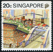 SINGAPORE - CIRCA 1987: Postage stamps printed in Singapore, depicted the cityscape of Singapore, circa 1987 — Stock Photo