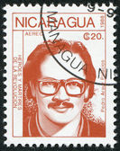 NICARAGUA - CIRCA 1988: Postage stamps printed in Nicaragua, shows the hero of the revolution Pedro Arauz Palacios, circa 1988 — Foto Stock