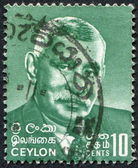 CEYLON - CIRCA 1966: A stamp printed in the Ceylon, is dedicated to the 14 anniversary of the death of the first Prime Minister, D. S. Senanayake, circa 1966 — Stock Photo