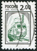 RUSSIAN-CIRCA 1998: A stamp printed in the Russian Federation, shows train, circa 1998 — Stock Photo