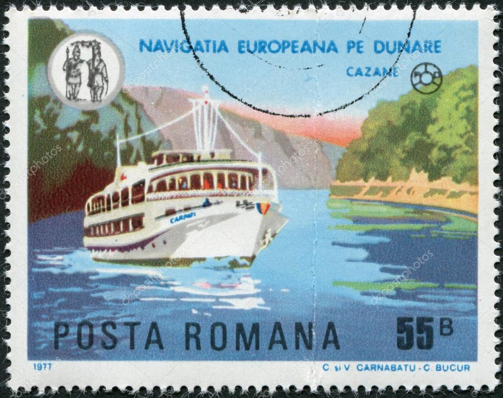 ROMANIA - CIRCA 1977: A stamp printed in the Romania, shows the pleasure boat Karpaty on the river Danube, near Cazane, circa 1977 — Stock Photo #12362436